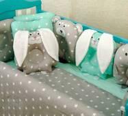 Комплект постельного белья для новорождённых Лесные зверята 09-02 серо-мятный