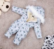 Комбінезон дитячий зимовий на овчині Natalie Look Boy 140-146 см світло-сірий