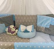 Комплект постельного белья Eco 3 Minky Серо-голубой