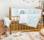 Комплект постельного белья для новорожденных с защитой-бортиками Верона Елочки