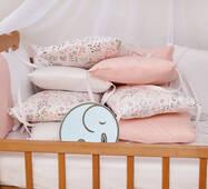 Бортики-защита в ліжечко з сатину Верона - 2 Фламінго Dobryi son
