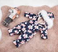 Комбінезон дитячий зимовий на овчині Natalie Look Фіалки 128-134 см