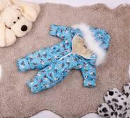 Комбінезон дитячий зимовий на овчині Natalie Look Мопс 128-134 см бірюза
