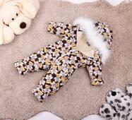 Комбінезон дитячий зимовий на овчині Natalie Look Ведмедик в сорочці 86-92 см бежево-коричневий