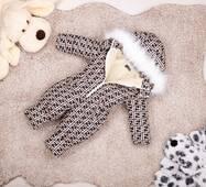Комбінезон дитячий зимовий на овчині Natalie Look FF 122-128 см бежево-коричневий