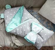 Конверт-ковдра для малюка Dobryi Son Капюшон з вушками Ведмедика 100х80 см м'ятно-сірий