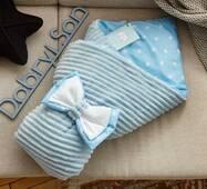 Конверт-ковдра для новонародженого плюш Stripse бязь Осінь Dobryi Son 100х80 см 7-06 Блакитний