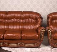 Шкіряний диван з кріслом Женове