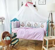 Комплект постільної білизни в ліжечко Панелі 3-10 Рожевий