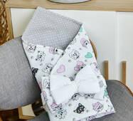 Конверт-плед для новорожденных бязь-бязь 80 6-01 Dobryi Son Белый с котиками
