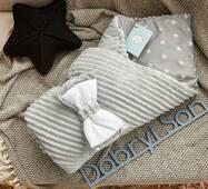 Конверт-одеяло для новорожденного плюш Stripse+бязь Осень Dobryi Son 100х80 см 7-06 Серый