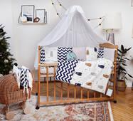 Комплект постельного белья для новорожденных с защитой-бортиками Верона Мишка + Зигзаг