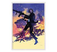 """Постер """"Джон Уик Pop art"""". із склом антивідблиску  420x594 мм у білій рамці"""