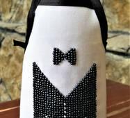 """Фартушок на пляшку (вишитий бісером)    """" З Весіллям! ''"""