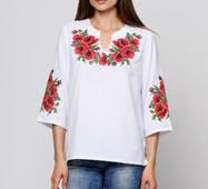 Сорочка женская ''Роскошные маки крестиком ''(машинная вышивка)
