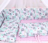 Тонкі борти захист в ліжечко ведмедика сіро-м'ятно-рожевий