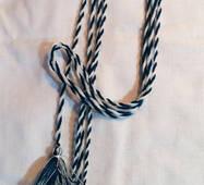Пояс шнурок шерстяной,  темно-лазурный с белым