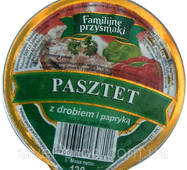 "Паштет 130г с курицей и паприкой ""Fammilijne przysmaki"" стак. (1/12)"