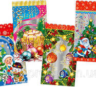 Пакет для Новогодних подарков 40*25 фольга (на 1000г конфет) 100шт.