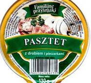 """Паштет 130г с курицей и печерицами """"Fammilijne przysmaki"""" стак. (1/12)"""