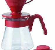 Подарочный набор для кофе: пуровер Hario V60 02 пластик Red + Сервировочный заварник из стекла