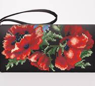 Заготовка для вышивки бисером и нитками Барвиста Вышиванка Сшитый клатч Маки красные (КЛ041кЧ1301)