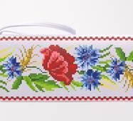 Заготовка для вышивки бисером Барвиста Вышиванка Сшитый клатч Красные маки, васильки, колоски (КЛ180кБ1301)