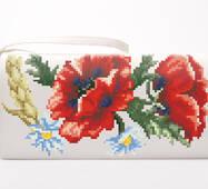 Набор для вышивки бисером Барвиста Вышиванка заготовки сшитого клатча Красные маки, ромашки, колоски (КЛ054дМ1301k)