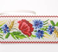 Заготовка для вышивки бисером Барвиста Вышиванка Сшитый клатч Красные маки, васильки, колоски (КЛ180шМ1301)