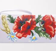Заготовка для вышивки бисером и нитками Барвиста Вышиванка Сшитый клатч Красные маки, ромашки, колоски (КЛ054лБ1301)