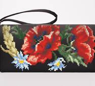 Заготовка для вышивки бисером и нитками Барвиста Вышиванка Сшитый клатч Красные маки, ромашки, колоски (КЛ054шЧ1301)