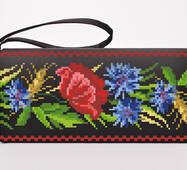 Набор для вышивки бисером Барвиста Вышиванка заготовки сшитого клатча Красные маки, васильки, колоски (КЛ180лЧ1301k)