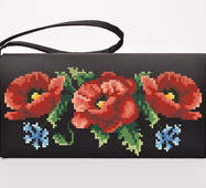 Набор для вышивки нитками Барвиста Вышиванка заготовки сшитого клатча Маки, васильки (КЛ003дЧ1301i)