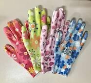 Женские рабочие перчатки N-629 с резиной на ладошке