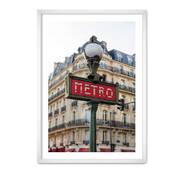 """Постер """"Метро"""" із склом антивідблиску 29.7  x 42 см у білій рамці"""