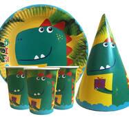 """Набор для детского дня рождения """" Динозавр """" Тарелки -10 шт Стаканчики - 10 шт Колпачки - 10 шт"""