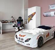Кровать машина белая + Мебель в детскую комнату (шкаф и стол) для девочки и мальчика