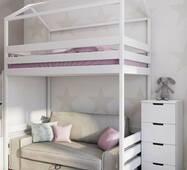 Кровать домик чердак белого цвета 187см и место под диван