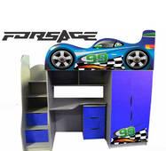 Кровать-чердак в виде машинки Forsage (синяя)