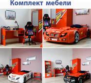 Мебель в детскую комнату + кровать машина (тумба шкаф стол и  стеллаж)