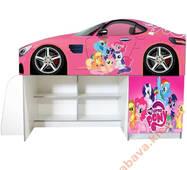 Кровать машина со шкафом и полками Пони