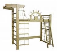 Кровать-чердак Пират Лак сосна с навесной лесенкой