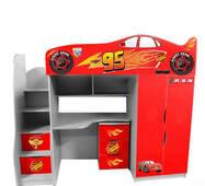 Детская кровать-чердак в виде машинки Forsage (красная)