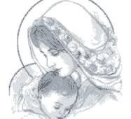 Схема для вышивки бисером Барвиста Вышиванка Мария с ребенком серая 35х45 (ТО015ан3545)
