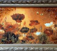 """Картина из янтаря """"Маки"""" 30х60 см"""