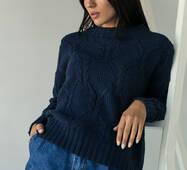 LUREX Джемпер ажурной толстой вязки с красивым узором - темно-синий цвет, S