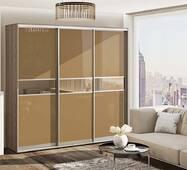 Шкаф купе фасады  стекло крашенное, вставки-зеркало бронза мод.2