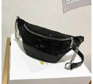 STK Поясна сумка, бананка в паетках  чорний