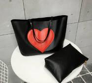 STK Чорна сумка шоппер з великим серцем
