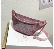 STK Поясна сумка, бананка в паетках  рожевий